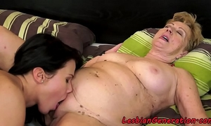 Perfect chick enjoys lesbiansex with aged