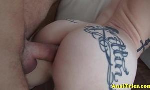 Tattooed anal dilettante receives cum in face hole