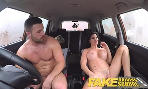 Fake driving school fortunate youthful chap tempted by his breasty milf examiner