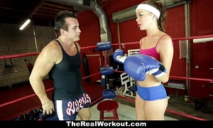 Therealworkout - sexually excited brunette hair screwed in the gym
