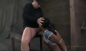 Bound dark cheating wife drilled by white slavemaster shlong