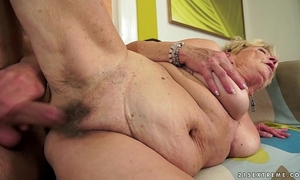 Granny's hair snatch overspread with cum