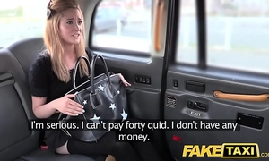 Fake taxi diminutive golden-haired in pull up nylons