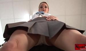 Horny school girl masturbates upskirt white panty tease