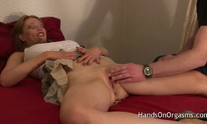 Relaxing milf brought to multiple intensive orgasms