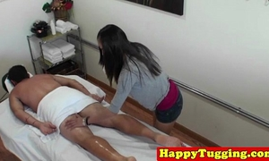 Asian cook jerking masseuse on spycam caught