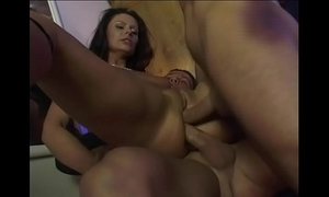 Dirty lascivious wench is drilled by her boss and her boyfriend