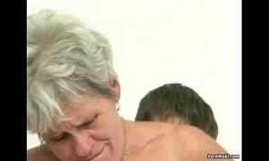 Hairy granny tastes juvenile weenie