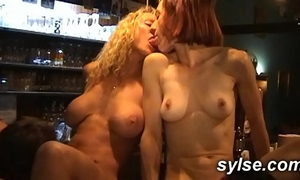 Anal bang for three milfs maids in the pub