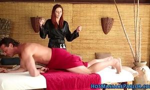Redhead masseuse jerking off