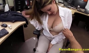 Busty slutwife trades with her breasts and muff for money