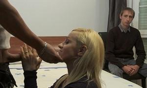 Cuckold watching how her floozy slutty wife is being screwed