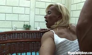 Blonde aged melissa q engulfing and fucking youthful schlong