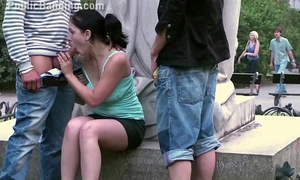 Pretty legal age teenager dirty slut wife public bang in front of a renowned statue