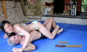 Turquoise bikini cheating wife wrestles old dude