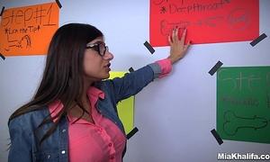 Mia khalifa shows her ally how to engulf ramrod