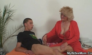 Mom-in-law rides him and cheating wife comes in