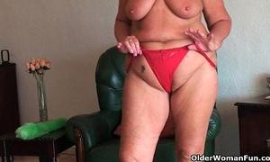 Chubby granny with saggy large milk sacks and bulky a-hole widens slit