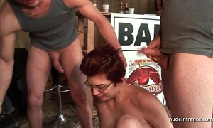 Amateur squirt redhead wench booty drilled and fisted hard in trio outdoor