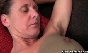 Granny inge receives fingered up her full bushed snatch