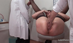 French squirt redhead booty inspected doublefist drilled at the gyneco