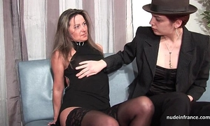 Ffm french aged wazoo drilled for her non-professional casting bed with a redhead whore
