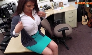 Big mounds milf sells her husbands stuff for the bail