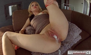 All inward three-some with double creampie for golden-haired newbie