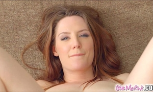 Give me pink british redhead stretches her gazoo with toys