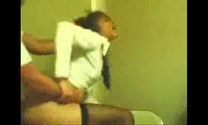 Girlfriend in school uniform acquires drilled doggy style