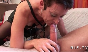 French older in nylons unfathomable mouth fucking and hard group-fucked