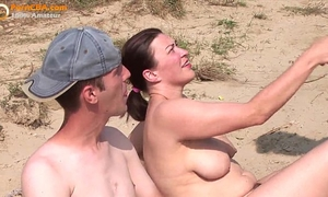 Real dilettante threesome on the beach