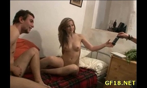 She widens legs wide open and feels how this hard dick