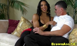 Round butt swarthy beauty in stockings ejaculation