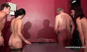 Young french hotties gangbanged and sodomized in 4some with papy voyeur