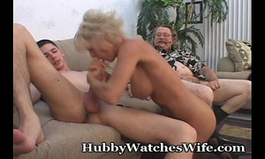 Mature takes cum from youthful chap & hubby