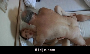 Old pervert dude drilled by a lascivious youthful maid