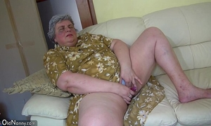 Oldnanny gorgeous white wife and corpulent granny masturbating jointly