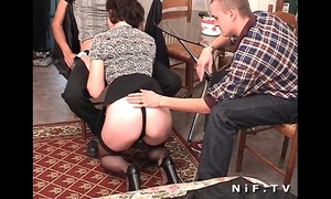 French aged anal screwed in three-some