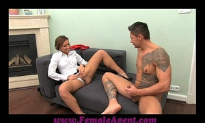 Femaleagent milf cums all over dudes pecker