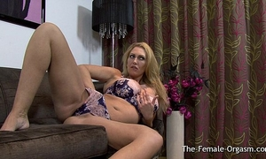 Big breasted british milf masturbating her beefy slit to big O