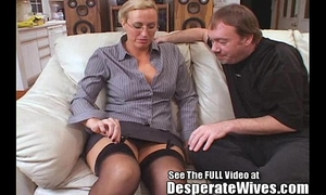 Tall slutwife acquires screwed and spermed!