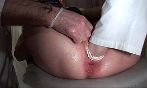 Two french matures gangbanged double teamed and fist drilled at the gyneco