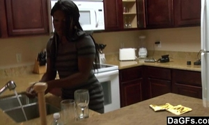 Ebony with a large arse acquires fucked during the dishes