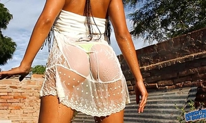 Most incredible arse zeppelins n cameltoe playing with water & stripping!