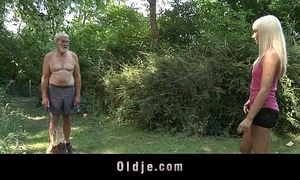 Two lascivious nubiles is fucking the old woodcutter