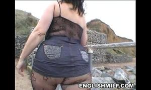 Big arse english milf in bodystocking public booty