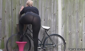Sexy large arse in transparent lycra leggings tights & belt