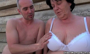 Mature mamas getting screwed outdoors