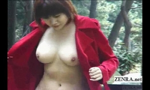 Subtitled japanese public nudity and uncensored oral-job